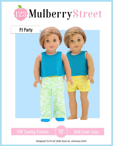 "Pj Party Pjs and Slippers 18"" Doll Clothes Pattern"