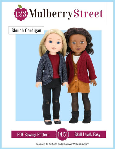 "Slouch Cardigan 14"" - 14.5"" Doll Clothes Pattern"