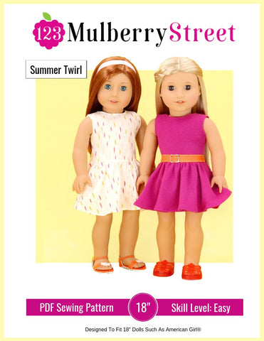 "123 Mulberry Street 18 Inch Modern Summer Twirl Dress 18"" Doll Clothes Pattern Pixie Faire"