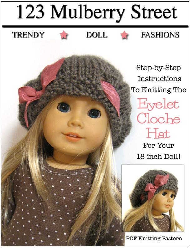 Eyelet Cloche Hat 18 inch doll clothes Knitting Pattern | Pixie Faire