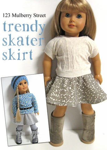 "Trendy Skater Skirt 18"" Doll Clothes Pattern"