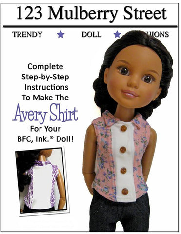 123 Mulberry Street BFC Ink Avery Shirt Pattern for BFC, Ink. Dolls Pixie Faire