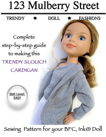 Trendy Slouch Cardigan Pattern for BFC, Ink. Dolls