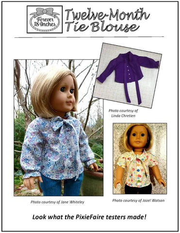 "Twelve-Month Tie Blouse 18"" Doll Clothes"
