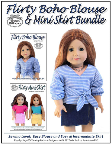 "Forever 18 Inches 18 Inch Modern Flirty Boho Blouse and Flirty Mini Skirt BUNDLE 18"" Doll Clothes Pixie Faire"
