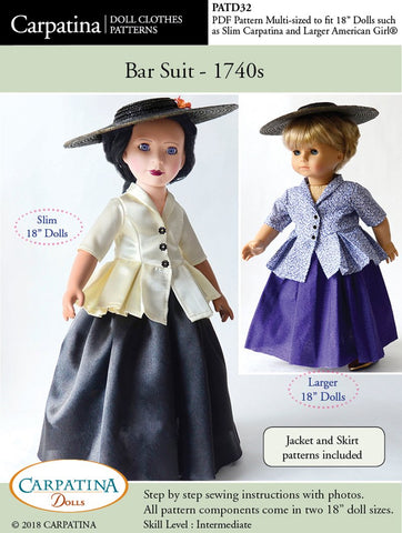 "Carpatina Dolls 18 Inch Historical 1740s Bar Suit Multi-sized Pattern for Regular and Slim 18"" Dolls Pixie Faire"