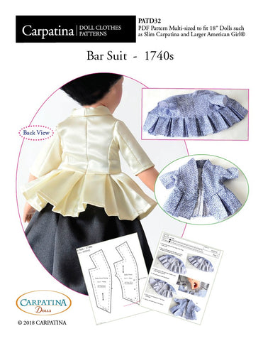 "1740s Bar Suit Multi-sized Pattern for Regular and Slim 18"" Dolls"