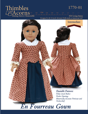 "Thimbles and Acorns 18 Inch Historical 1770 En Fourreau Gown 18"" Dolls Clothes Pattern Pixie Faire"