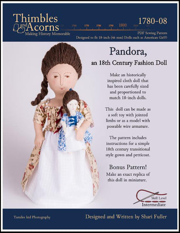 "Pandora, an 18th Century Fashion Doll 18"" Cloth Doll Pattern"