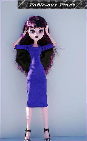 "The Batwing Dress for 17"" Pattern for Monster High Dolls"