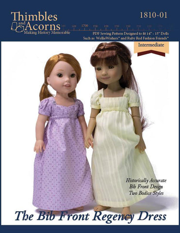 "Bib Front Regency Dress 14-15"" Doll Clothes Pattern"