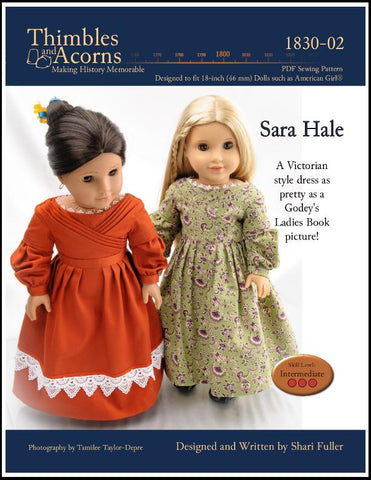 "1830's Sarah Hale Dress 18"" Doll Clothes Pattern"