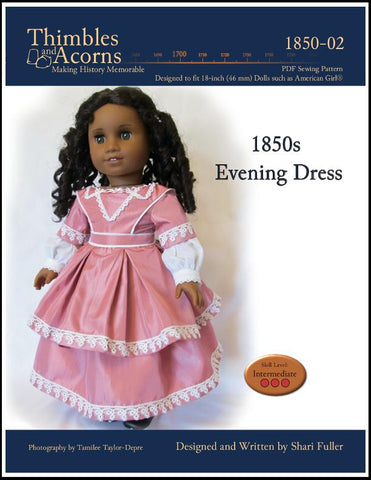 "1850s Evening Dress 18"" Doll Clothes Pattern"