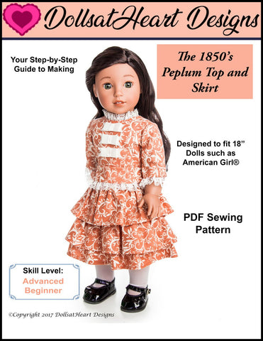 "1850's Peplum Top & Skirt 18"" Doll Clothes Pattern"