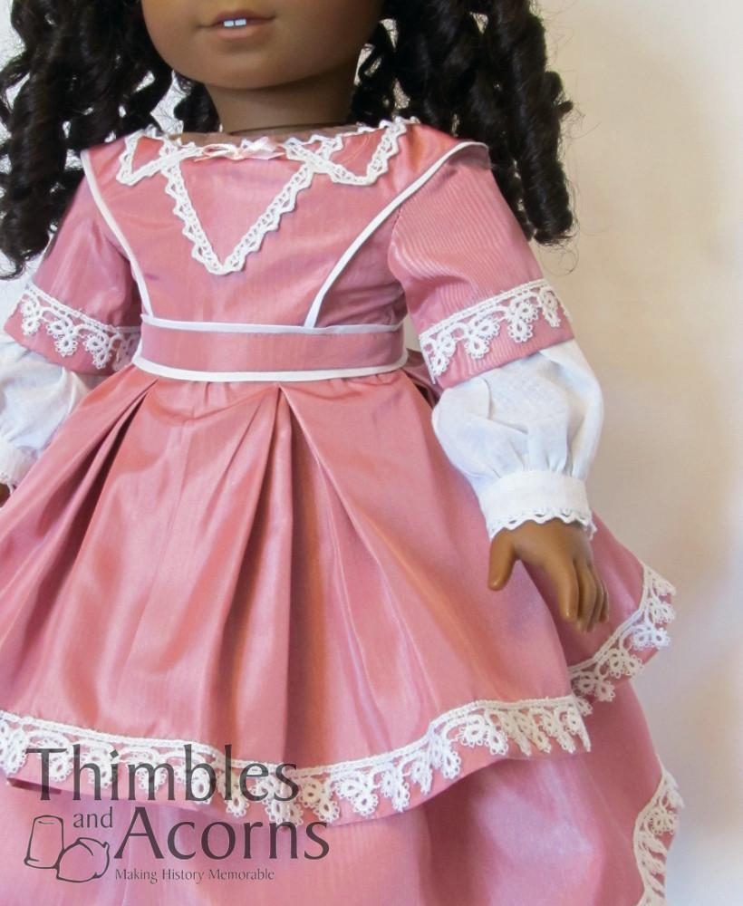 Thimbles and Acorns 1850s Evening Dress 18 inch Doll Clothes