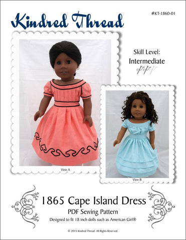 "1865 Cape Island Dress 18"" Doll Clothes Pattern"