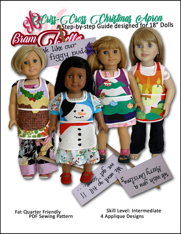 "Criss Cross Christmas Apron 18"" Doll Accessories Pattern"