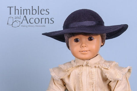Thimbles and Acorns 18 Inch Historical 18th Century Molded Felt Hat Multi Sized Doll Clothes Pattern Pixie Faire