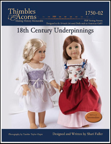 "Thimbles and Acorns 18 Inch Historical 18th Century Underpinnings 18"" Doll Clothes Pattern Pixie Faire"