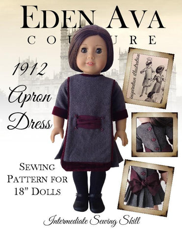 "1912 Apron Dress 18"" Doll Clothes Pattern"
