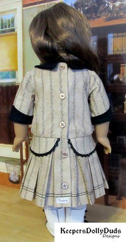 1914 Pleated Frock Keepers Dolly Duds pdf doll clothes sewing pattern designed to fit 18 inch American Girl dolls
