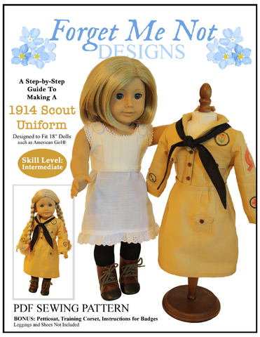 "1914 Scout Uniform 18"" Doll Clothes Pattern"