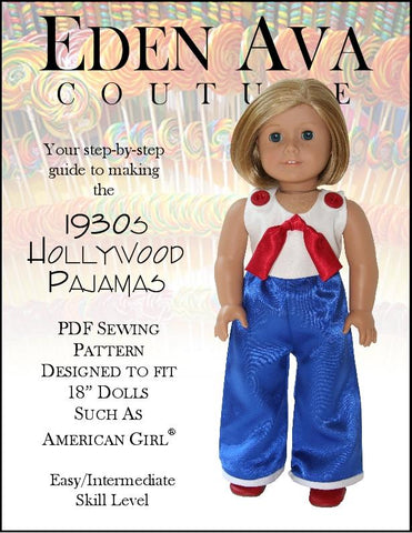 "Eden Ava 18 Inch Historical 1930's Hollywood Pajamas 18"" Doll Clothes Pattern Pixie Faire"