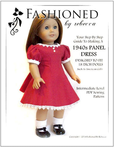 "Fashioned by Rebecca 18 Inch Historical 1940's Panel Dress 18"" Doll Clothes Pattern Pixie Faire"