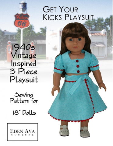 "Eden Ava 18 Inch Historical 1940's Vintage Inspired 3 Piece Playsuit 18"" Doll Clothes Pixie Faire"
