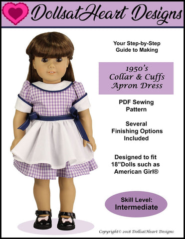 "1950's Collar & Cuffs Apron Dress 18"" Doll Clothes Pattern"