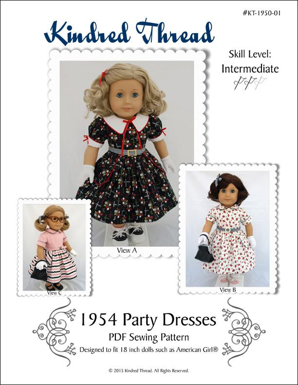 Kindred Thread 1954 Party Dresses Doll Clothes Pattern 18 inch ...