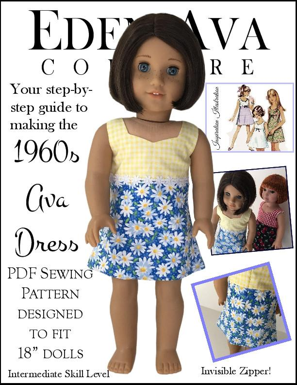 Eden Ava 1960s Ava Dress Doll Clothes Pattern 18 Inch