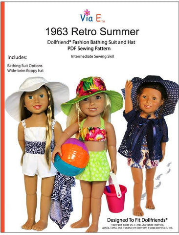 1963 Retro Summer Doll Clothes Pattern For Dollfriends