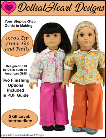 PDF doll clothes sewing pattern 1970s Zip Front Top and Pants Dolls at Heart Designs designed to fit 18 inch American Girl dolls