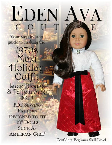 1970's Holiday Maxi Outfit Doll Clothes Pattern Designed to Fit 18 Inch dolls such as American Girl®