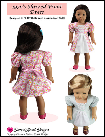"1970's Shirred Front Dress 18"" Doll Clothes Pattern"
