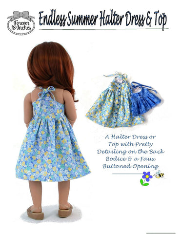 "Endless Summer Halter Dress & Top Pattern for Kidz N Cats and 19"" Gotz Dolls"