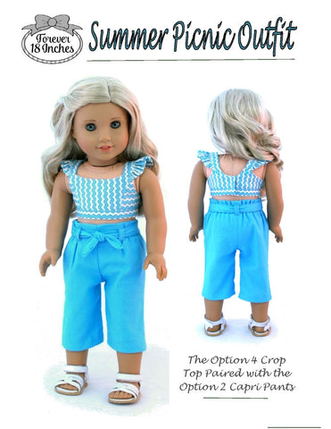 "Summer Picnic Outfit 18"" Doll Clothes Pattern"