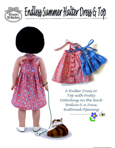 "Endless Summer Halter Dress & Top 14.5"" Doll Clothes Pattern"