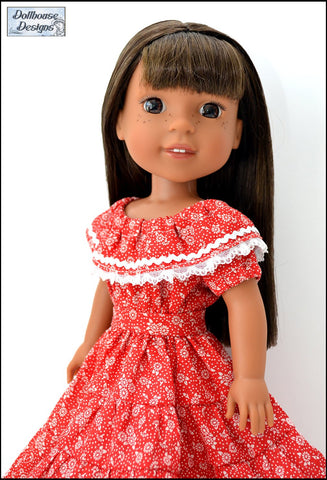 "Fiesta Folklorico Dress & Blouse 14-14.5"" Doll Clothes Pattern"