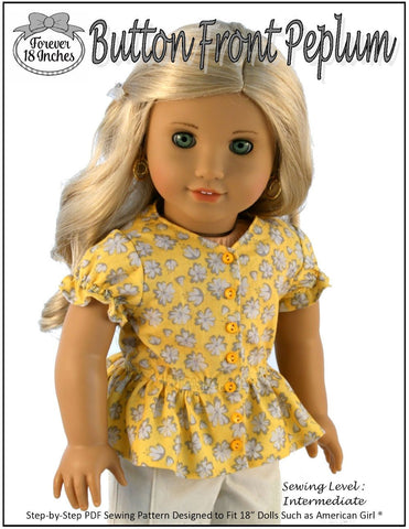 "Forever 18 Inches 18 Inch Modern Button Front Peplum 18"" Doll Clothes Pixie Faire"