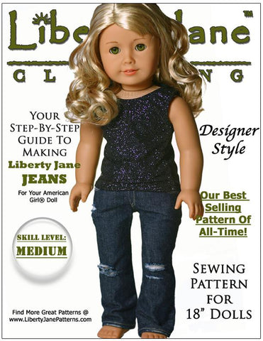 Liberty Jane Jeans 18 inch Doll clothes pattern