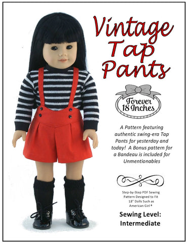 "Vintage Tap Pants 18"" Doll Clothes Pattern"