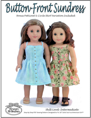 "Button Front Sundress 18"" Doll Clothes Pattern"