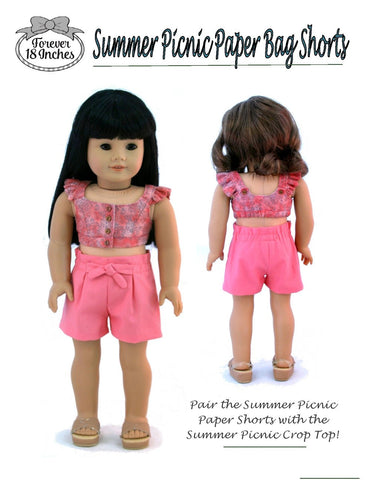 18 inch doll pdf sewing pattern shorts and capris designed to fit American Girl dolls