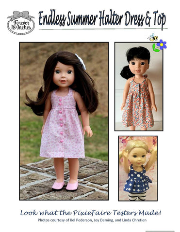 "Endless Summer Halter Dress & Top 14.5"" WW and 13"" Minouche Doll Clothes Pattern"