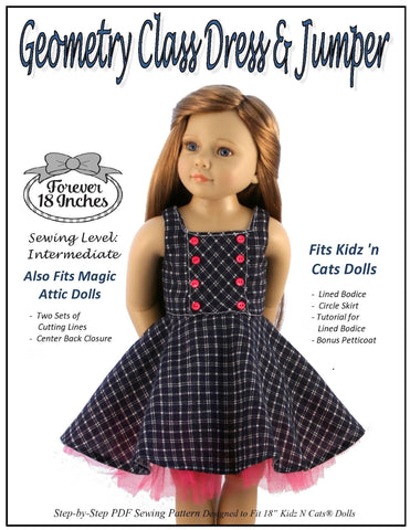 Geometry Class Dress & Jumper Pattern for Kidz N Cats Dolls