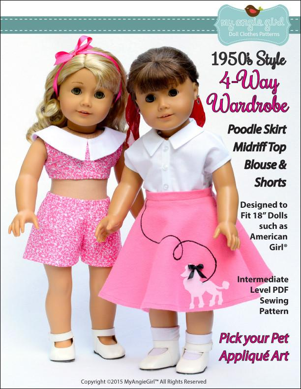 c32d40c027aa90 My Angie Girl The 1950's Wardrobe Doll Clothes Pattern | Pixie Faire