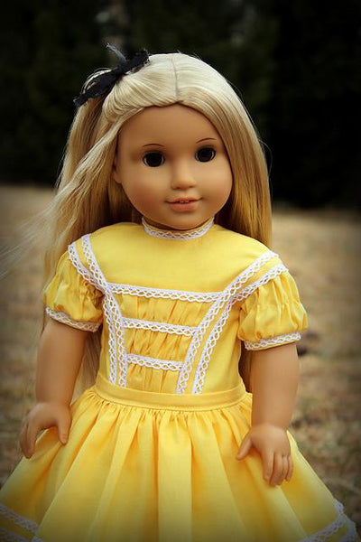 1864 Harriet S Yellow Dress 18 Inch Doll Clothes Pattern
