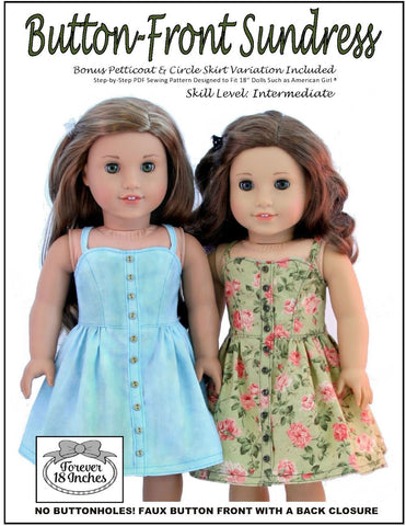 "Forever 18 Inches 18 Inch Modern Button Front Sundress 18"" Doll Clothes Pattern Pixie Faire"